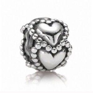 Authentic Silver Pandora Heart Charm